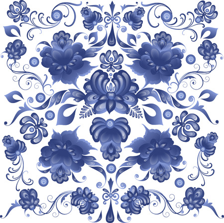 Illustration pour Floral Background in Gzhel Style - in vector - image libre de droit