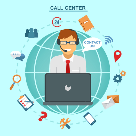 Illustration pour Concept of Technical Online Support Call Center. Computer Remote Nonstop Support Service. Vector illustration in flat style - image libre de droit