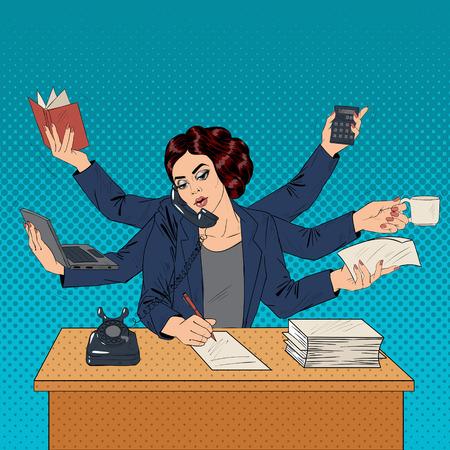 Illustration pour Business Superwoman Pop Art Banner. Woman with Many Hands Doing a Lot of Things. Vector illustration - image libre de droit