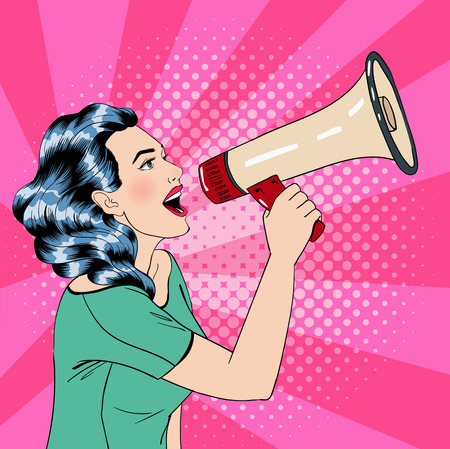 Illustration pour Pop Art Style Woman with Megaphone. Vector illustration - image libre de droit