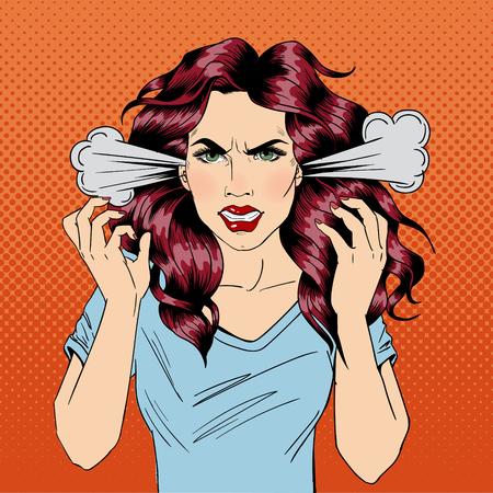 Ilustración de Angry Woman. Furious Girl. Negative Emotions. Bad Days. Bad Mood. Stressful Woman. Comic Background. Pop Art Banner. Vector illustration - Imagen libre de derechos