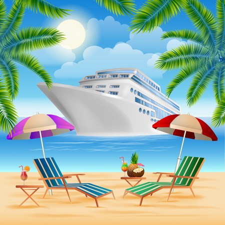 Illustration pour Tropical Paradise. Cruise Ship. Exotic Island with Palm Trees. Vacation and Travel. Vector illustration - image libre de droit