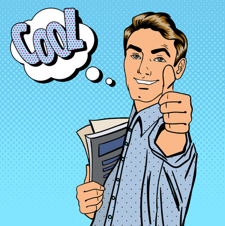 Illustration pour Happy Student. Man Gesturing Great. Student with Books. Expression Cool. Pop Art. Vector illustration - image libre de droit
