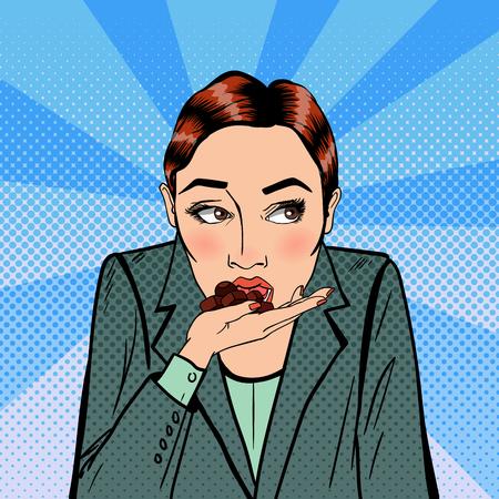 Ilustración de Business Woman Eating Chocolate. Stress at Work. Pop Art. Vector illustration - Imagen libre de derechos