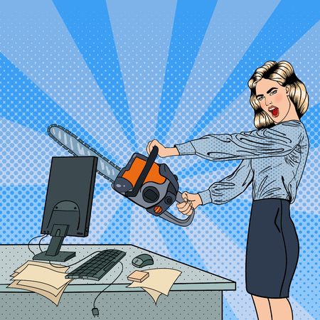 Illustrazione per Angry Business Woman Crashes her Computer with Chainsaw. Pop Art. Vector illustration - Immagini Royalty Free