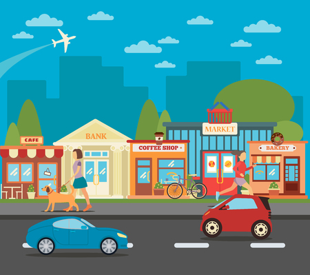 Illustration pour Small Town. Urban Cityscape with Shops, Active People and Cars. Vector illustration - image libre de droit