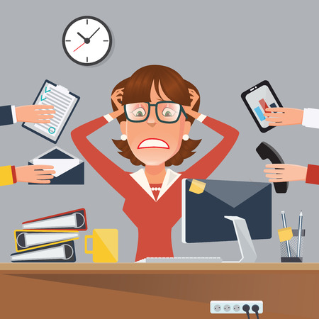 Illustrazione per Multitasking Stressed Business Woman in Office Work Place. Vector illustration - Immagini Royalty Free