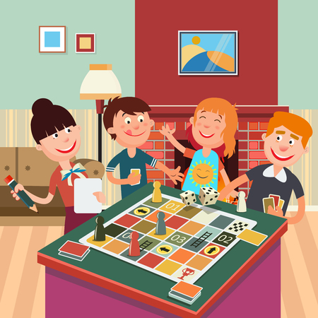 Illustration pour Family Playing Board Game. Happy Family Weekend. Vector illustration - image libre de droit