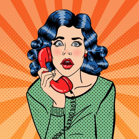 Illustration pour Shocked Young Woman Talking on the Phone. Pop Art. Vector illustration - image libre de droit