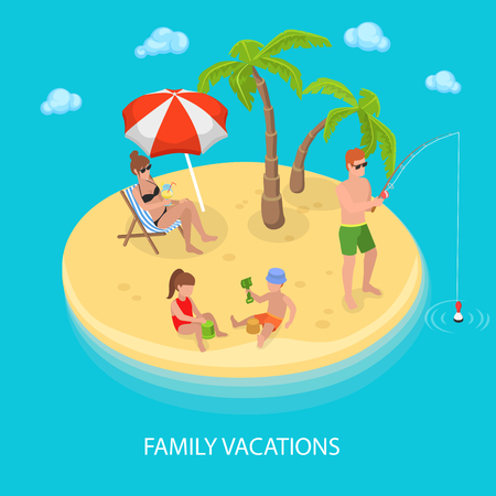 Illustration pour Isometric Tropical Island Beach with Happy Family Relaxing. Vector illustration - image libre de droit