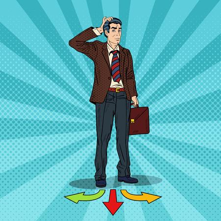 Illustration pour Pop Art Businessman Choosing the Way on Crossroads. Vector illustration - image libre de droit