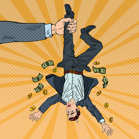 Ilustración de Pop Art Businessman Loosing his Last Money. Bankruptcy Concept. Vector illustration - Imagen libre de derechos