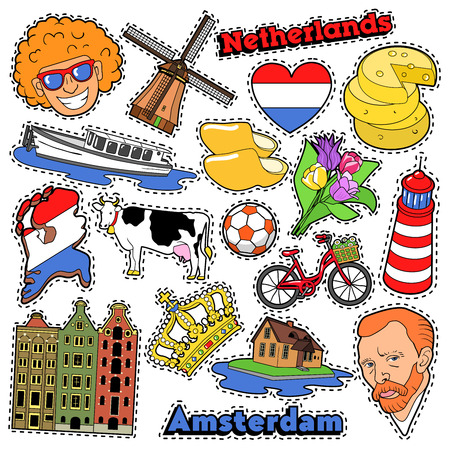 Illustration pour Netherlands Travel Scrapbook Stickers, Patches, Badges for Prints with Clogs, Cheese and Holland Elements. Comic Style Vector Doodle - image libre de droit
