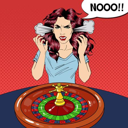 Illustration pour Hysteric Woman Behind Roulette Table. Casino Gambling. Pop Art Vector retro illustration - image libre de droit