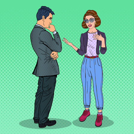 Illustration pour Young Woman Explaining Something to Man. Pop Art vector illustration - image libre de droit