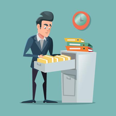Ilustración de Businessman Searching Document in Pile of Folders. Office Bureaucracy. Vector cartoon illustration - Imagen libre de derechos