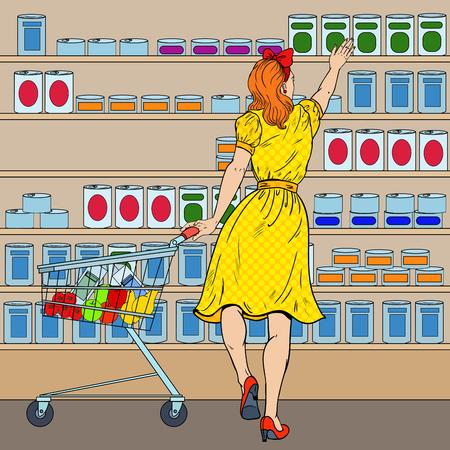 Ilustración de Woman Shopping at the Supermarket with Cart. Pop Art vector illustration - Imagen libre de derechos