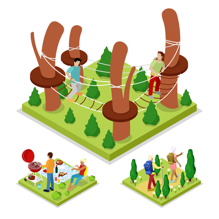 Illustration for Isometric Outdoor Activity. Rope Park and Barbeque. Healthy Lifestyle and Recreation. Vector flat 3d illustration - Royalty Free Image