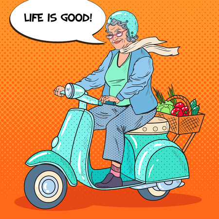Ilustración de Pop Art Happy Senior Woman Riding Scooter with Basket of Vegetables. Lady Biker. Vector illustration - Imagen libre de derechos