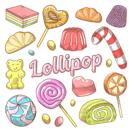 Ilustración de Candy and Lollipops Hand Drawn Doodle with Jelly and Sweets. Vector illustration - Imagen libre de derechos