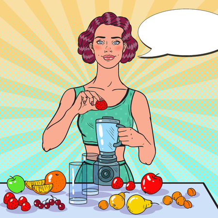 Illustration pour Pop Art Young Woman Making Smoothie with Fresh Fruits. Healthy Eating. Dieting Vegeterian Food Concept. Vector illustration - image libre de droit