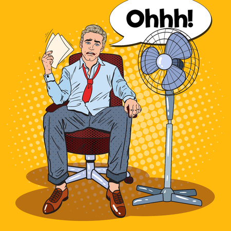 Illustration pour Pop Art Sweating Businessman in Front of Fan at Office Work. Summer Heat. Vector illustration - image libre de droit