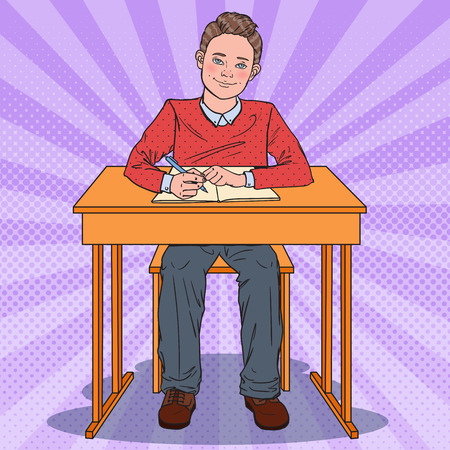 Illustration for Pop Art Happy Schoolboy Sitting at School Desk. Education Concept. Vector illustration - Royalty Free Image
