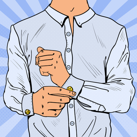 Illustration pour Pop Art Businessman Wearing Cufflinks. Man Fashion Style. Vector illustration - image libre de droit