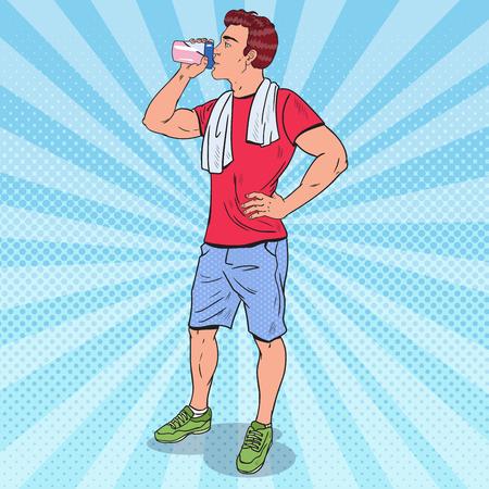 Illustration pour Pop Art Muscular Man Drinking Protein Shake. Nutrition Supplements. Vector illustration - image libre de droit