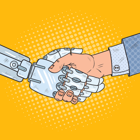 Illustration pour Pop Art Business Robot and Human Handshake. Intelligence Technology. Vector illustration - image libre de droit