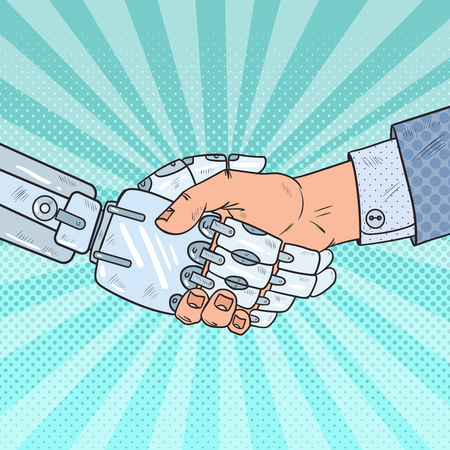 Illustration pour Pop Art Business Robot and Human Handshake. Intelligence Technology. Vector illustration - image libre de droit