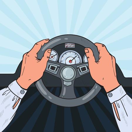 Ilustración de Pop Art Man Hands Steering Car Wheel. Safe Driving. Vector illustration - Imagen libre de derechos