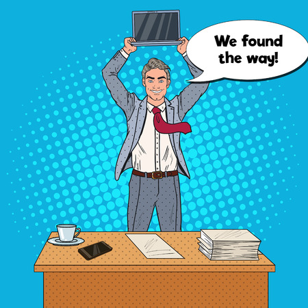Illustration pour Pop Art Happy Businessman Standing at the Office Table and Holding Laptop above his Head. Vector illustration - image libre de droit