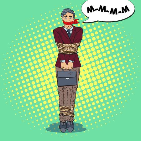 Illustration pour Pop Art Frustrated Businessman Tied Up with Rope. Business Problems. Vector illustration - image libre de droit
