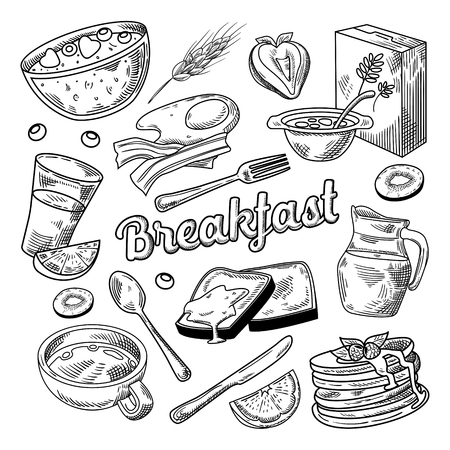 Illustration pour Healthy Breakfast Hand Drawn Doodle - image libre de droit