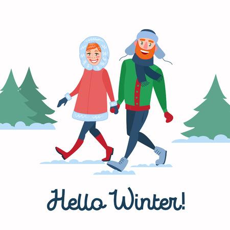 Ilustración de Happy Couple on Winter Holidays. Man and Woman Holding Hands on Walking. Christmas Time. Vector illustration - Imagen libre de derechos