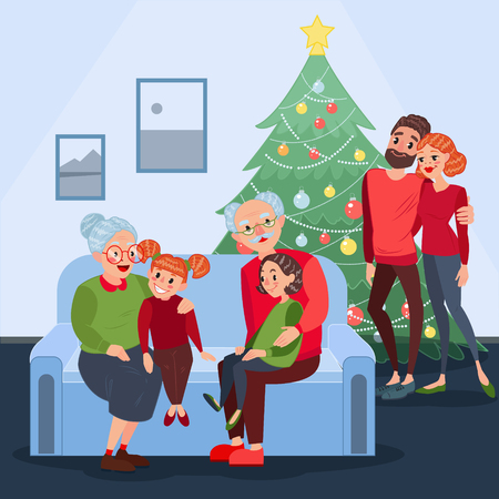 Illustration for Happy Family Celebrating Christmas. Grandparents with Grandchildren on New Year Eve. Winter Holidays. Vector illustration - Royalty Free Image