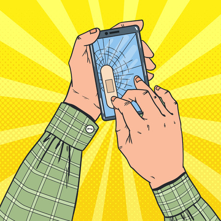 Illustration pour Pop Art Male Hands Holding Broken Smartphone with Crashed Screen. Damaged Cell Phone. Vector illustration - image libre de droit