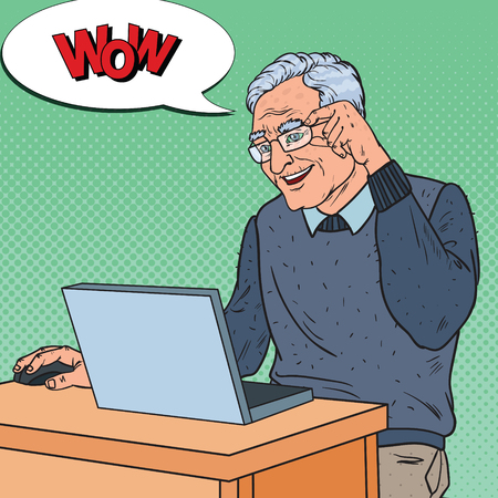 Illustration pour Pop Art Happy Senior Man Working with Laptop. Communication Concept. Vector illustration - image libre de droit