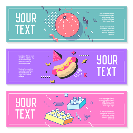 Illustration pour Abstract Memphis Style Horizontal Banners with Geometric Elements. Creative Trendy Modern Composition for Posters, Advertising Design. Vector illustration - image libre de droit