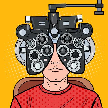 Illustration pour Pop Art Man Patient at Optometric Clinic with Optical Phoropter. Eye Exam. Vector illustration - image libre de droit