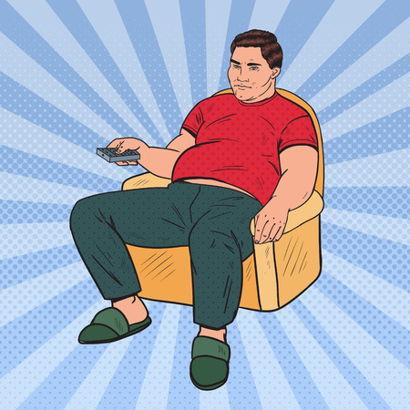 Illustration pour Pop Art Fat Man Watching TV with Remote Controller. Unhealthy Food. Vector illustration - image libre de droit