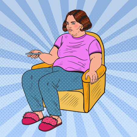 Illustration pour Pop Art Fat Woman Watching TV with Remote Controller. Unhealthy Eating. Vector illustration - image libre de droit