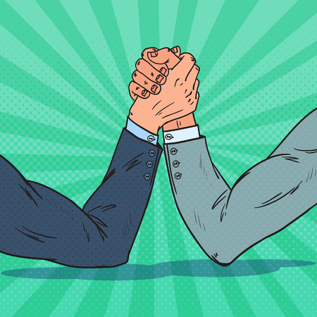 Illustration pour Pop art businessman hands arm wrestling. Business rivalry. Confrontation at work, vector illustration. - image libre de droit