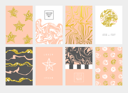 Illustration pour Golden Abstract Cards Design Pastel Colors. Gold Patterns for Placards, Posters, Banners. Greeting Card, Invitation Template, Business Brochure. Vector illustration. - image libre de droit