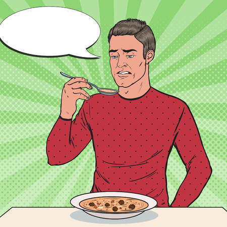 Illustrazione per Pop Art Man Tasting Soup with Disgusting Face. Tasteless Food. - Immagini Royalty Free