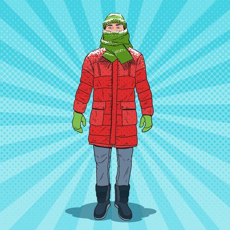 Illustrazione per Pop Art Frozen Man in Warm Winter Clothes. Cold Weather. Vector illustration - Immagini Royalty Free