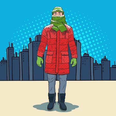 Illustrazione per Pop Art Frozen Man in Warm Winter Clothes in the City. Cold Weather. Vector illustration - Immagini Royalty Free