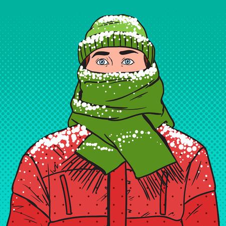 Illustrazione per Pop Art Portrait of Frozen Man in Warm Winter Clothes. Cold Weather. Vector illustration - Immagini Royalty Free