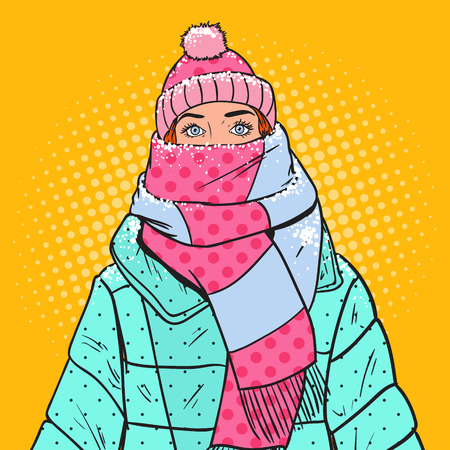 Illustration for Pop Art Portrait of Beautiful Woman in Warm Winter Clothes. Cold Weather. Vector illustration - Royalty Free Image